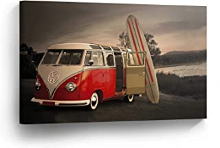 Dwi24isty Canvas Print Volkswagen Van Red in Black Surfboard Home Decor Camper Old Vintage Bus Wall Art Gallery Framed Canvas Art Ready to Hang
