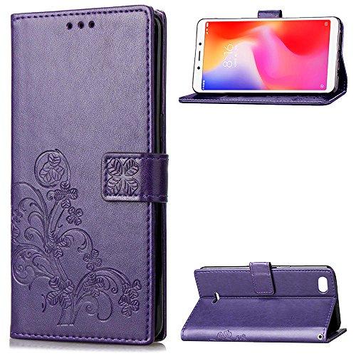 LAGUI Funda Adecuado para Xiaomi Redmi 6A, Los Adornos Bien Definidos y Grabados Carcasa Tipo Libro, de ranuras para tarjetas y soporte horizontal y solapa con cierre magnético, púrpura