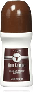 Avon Deodorant Men's Roll-on Wild Country, Long Lasting, Smooth Seductive Aroma and Quick-drying, 2.6oz/75ml