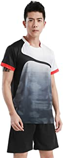 FEESHOW Men Women Breathable Tracksuit Sport Wear Badminton Table Tennis Running Outfit Short Sleeve T-Shirt with Shorts