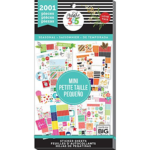 me & my BIG ideas Sticker Value Pack for Mini Planner - The Happy Planner Scrapbooking Supplies - Season Theme - Multi-Color & Gold Foil - Great for Projects & Albums - 30 Sheets, 2001 Stickers Total