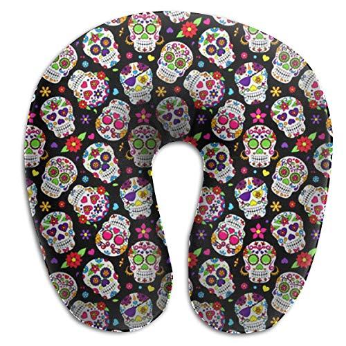 Sugar Skulls Day of Dead Memory Foam Almohada para el Cuello de Viaje Almohada Cervical portátil U para Acampar