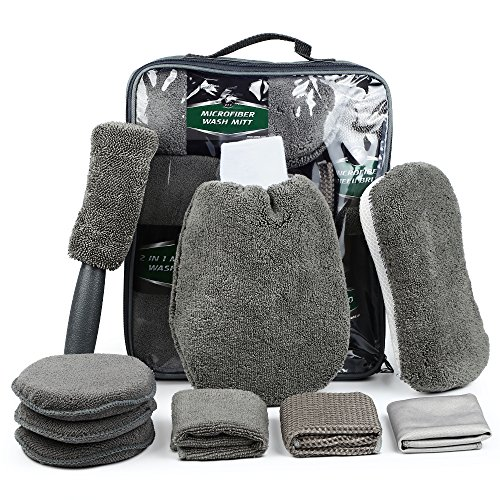 Electop 9 Pcs Car Cleaning Tools Kit with Bag - Car Wash Mitt Glove Washing Sponge Microfiber Wheel Brush Wax Applicator Pads Exterior and Interior Wash Towels Cloths(Gray)