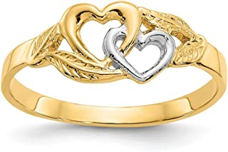 14k Yellow Gold White 2 Hearts Band Ring Size 6.00 S/love Fine Jewelry Gifts For Women For Her