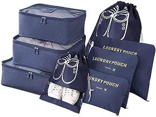 8 pack Organizador de Equipaje,Organizadores de Viajes, Impermeable Organizador de Maleta Bolsa Incluir 3 Cubos de Embalaj...