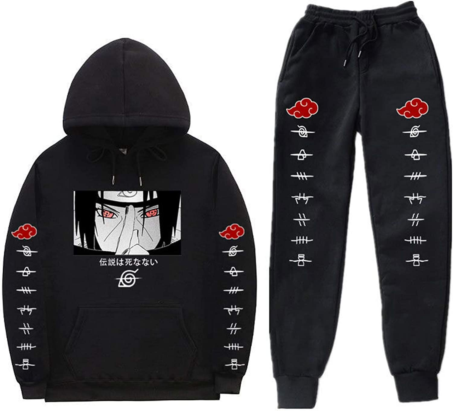 Anime Naruto Hoodie and Sweatpants Set Unisex 2 Piece Pullover Sweatshirt Jogger Pants Suit Casual Tracksuit for Men Women