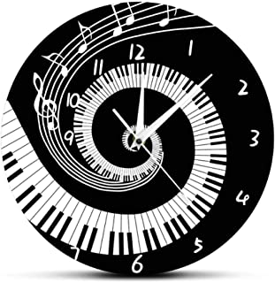 Elegant Piano Keys Black and White Wall Clock Music Notes Wa
