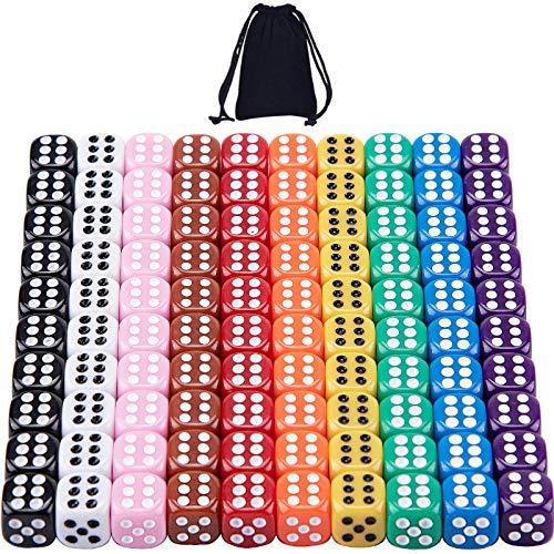 SIQUK 100 Stück Würfel 12mm Bunt Würfel für Tenzi Würfelspiele Tischspiele, 10 Farben