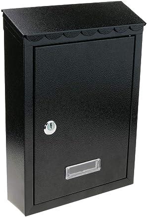 PrimeMatik - Cassetta delle Lettere Casella Postale e Posta Metallico di Colore Nero da Parete 210x60x300mm