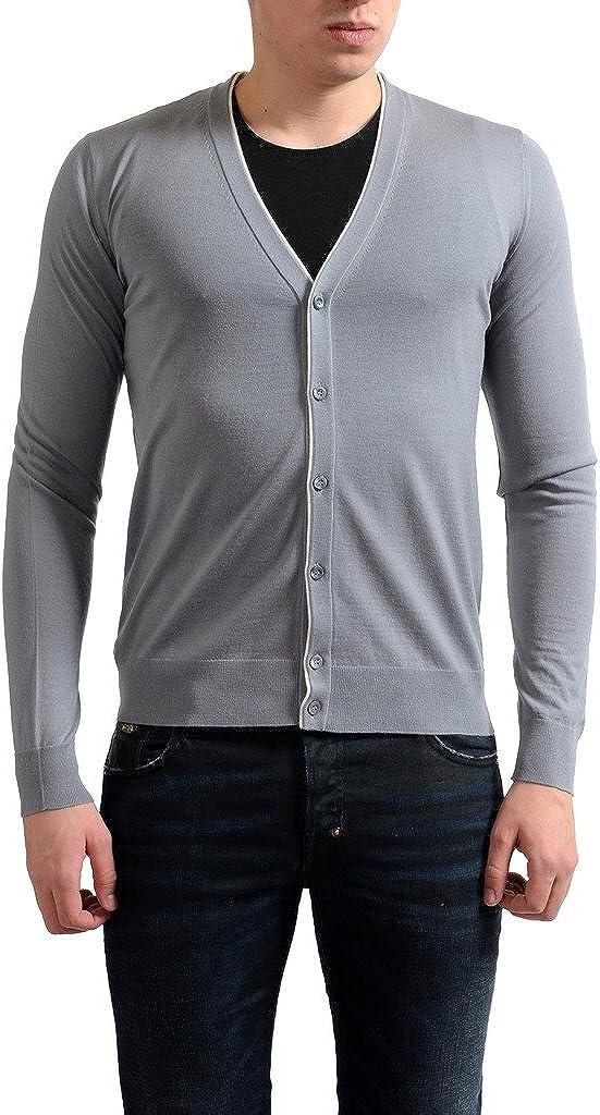 Prada Men's 100% Wool Gray Cardigan Pullover Sweater