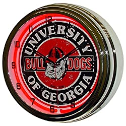 University of Georgia Logo Sign Neon Lighted Wall Clock Chrome Red