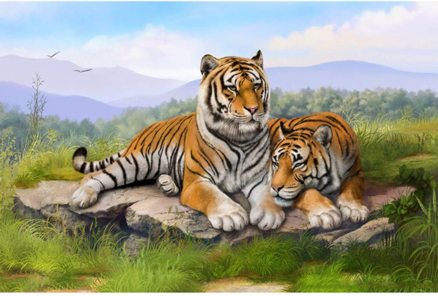 Xhabb 5D DIY Diamond Painting Living Room Decorative Painting Diamond Painting Tigers 5D Full Diamond Cross Stitch 30X45Cm