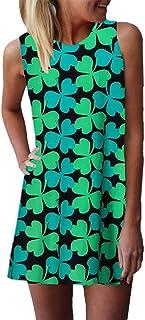 ZANZEA Vestido Mujer Corto Estampado Floral Vestido Playa Talla Grande Cuello Redondo Sin Mangas Casual