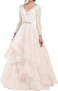 XKYU Womens A-Line Long Lace Wedding Dresses V-Neck Open Back Sleeveless Country Wedding Dresses