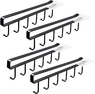 4 Pack 6 Mug Hooks Black Under Cabinet Mug Hanger Kitchen Utensil Hooks,Adhesive Cup Holder Under Cabinet Fit for 1 Inch T...