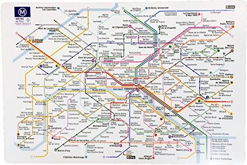 Winkler - Set de table Plastique Ratp – 47x34 cm – Napperon rectangle – Facile à nettoyer - Imprimé carte métro de Paris