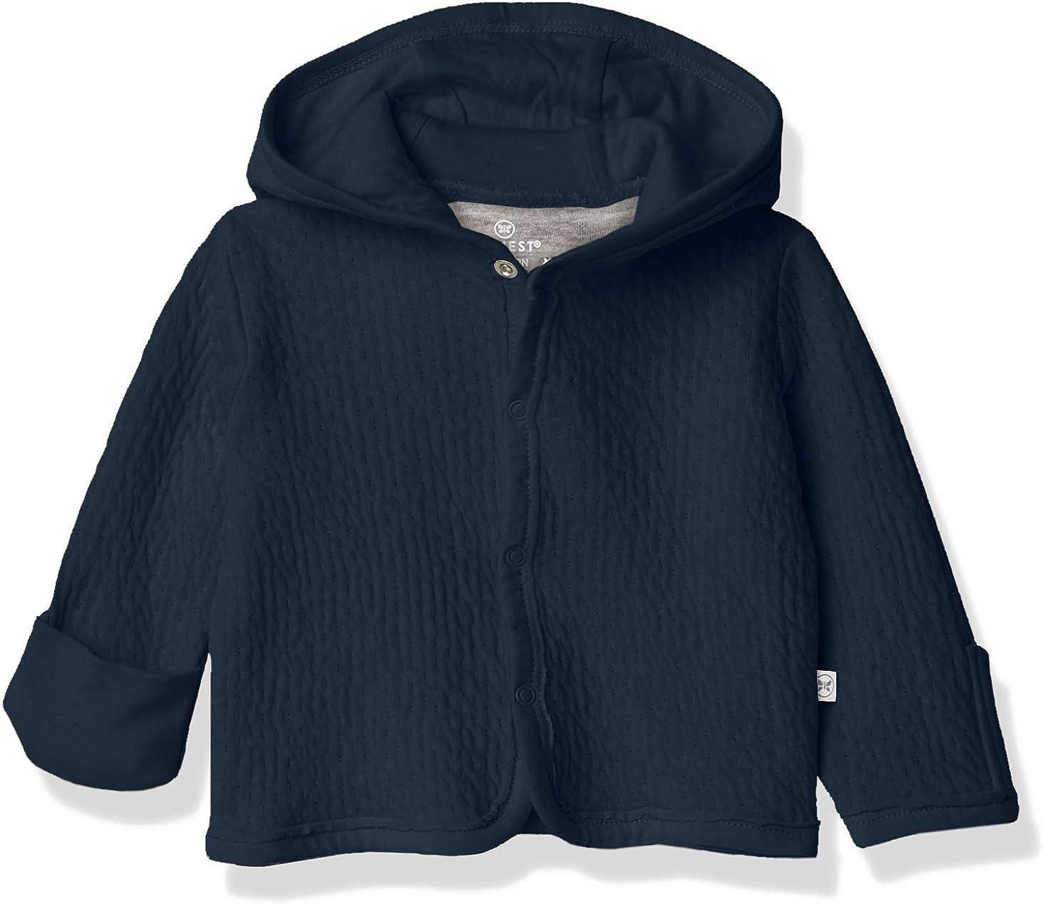 HonestBaby Organic Cotton Matelasse Snap-Front Hooded Jacket, Dark Navy, 0-3 Months