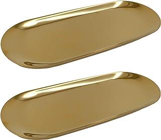 2 Pieces Gold Jewelry Tray(9 Inch) - Hand Towel,Cosmetics,Trinket Decorative Storage Tray (Stainless Steel ,Oval)