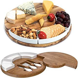 Shanik Cheese Cutting Board Set - Charcuterie Board Set and Cheese Serving Platter. Perfect Meat/Cheese Board and Knife Set for Entertaining and Serving. 3 Knies, Ceramic Bowl and Wine Server Plate.