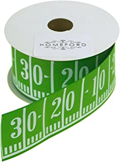 Homeford Football Field Gridiron Yard Line Grosgrain Ribbon, Green, 1-1/2-Inch, 3-Yard