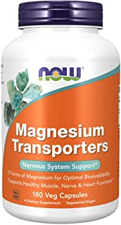 NOW Supplements, Magnesium Transporters with 5 Forms of Magnesium for Optimal Bioavailability, 180 Veg Capsules