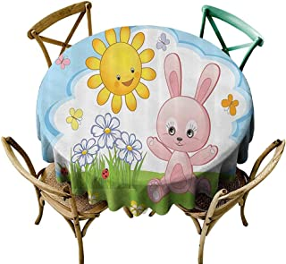 Mannwarehouse Kids Decor Washable Table Cloth Cute Bunny Rabbit in Flower Garden with Happy Sun Lady Bugs and Butterfly Print Easy Care D63 Multicolor