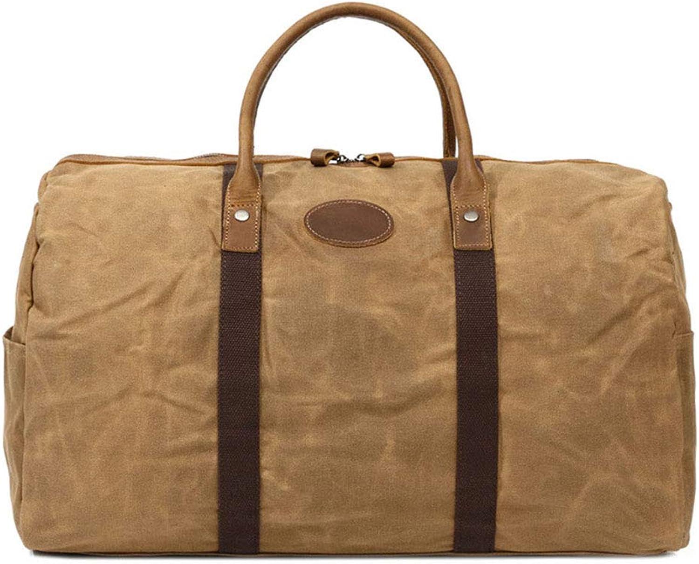 Sturdy Fashian Travel Handbag Waterproof Canvas Handbag Weekend Travel Portable Diagonal Package Large Capacity (color   Khaki)