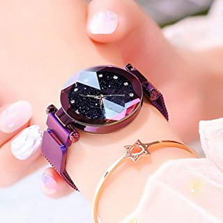 Acnos Black Round Diamond Dial with Latest Generation Purple Magnet Belt Analogue Watch for Women Pack of - 1 (DM-PURPLE21)