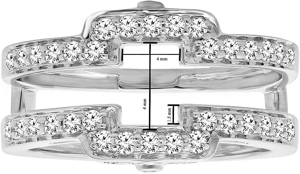 Dazzlingrock Collection 0.50 Carat (ctw) Round White Diamond Ladies Anniversary Wedding Enhancer Guard Double Band 1/2 CT, 14K Gold