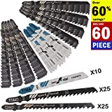 60PCS T Shank Jigsaw Blades Set for Wood Plastic Metal Replace Bosch DEWALT Hitachi Makita Milwaukee Metabo Porter Cable and Craftsman Jig Saws Includes 3 Type of T118A T144D & T244D