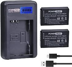 PowerTrust 2 Pack EN-EL20 EN-EL20a Camera Battery and LCD USB Charger for Nikon 1 J1 J2 J3 S1 AW1 Camera Batteries