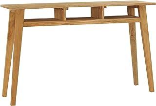 pedkit Mesa Consola con 3 Estantes Abiertos Mesa de Recibidor de Madera de Teca Maciza 120x35x75 cm