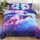 ENCOFT 3D Galaxy Unicorn Comforter Sets Twin/Full/Queen 3 Pieces, Tencel Cotton Unicorn Kids Comforter Bedding Sets 1 Comforter, 2 Pillowcases