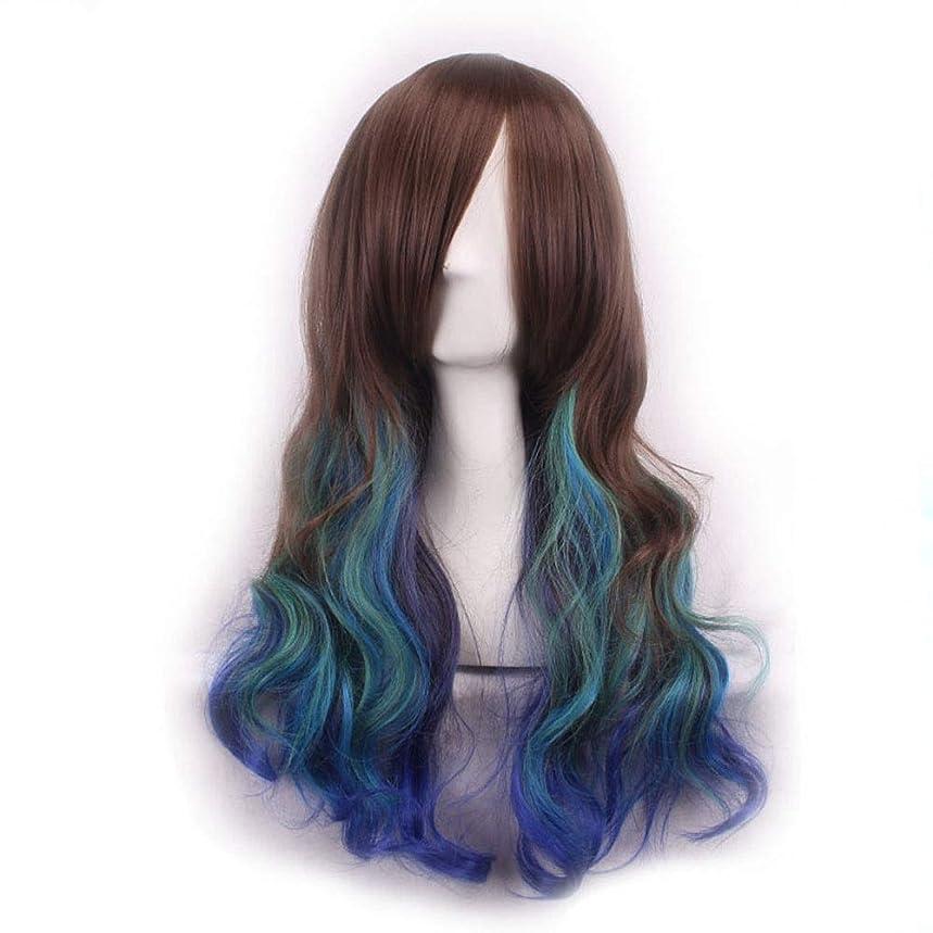 経験対応パスポートかつらキャップでかつらファンシードレスカールかつら女性用高品質合成毛髪コスプレ高密度かつら女性&女の子ブルー、レッド (Color : 青)