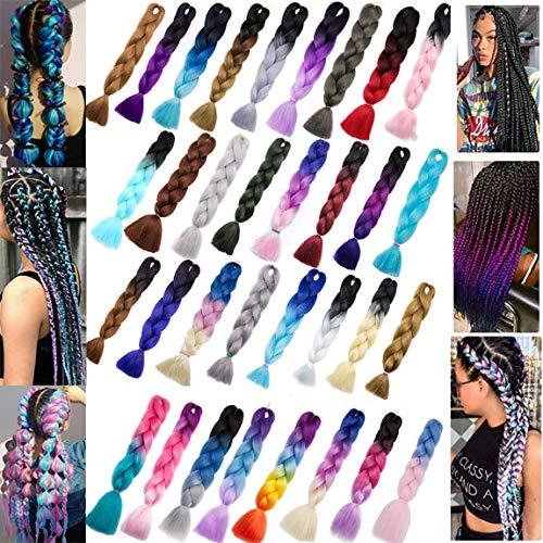 Ombre Braids Hair Jumbo Braiding Hair Synthetic Hair Extensions for Braiding Crochet Twist Box Braids 24Inch 5 Packs Black to Purple Red to Dark Blue