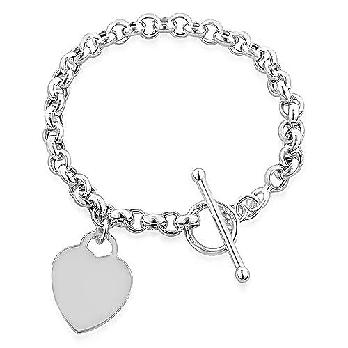 c1e060800 Designer Inspired Heart Pendant Toggle T Bar Rolo Tag Bracelet Sterling  Silver 925 20cm