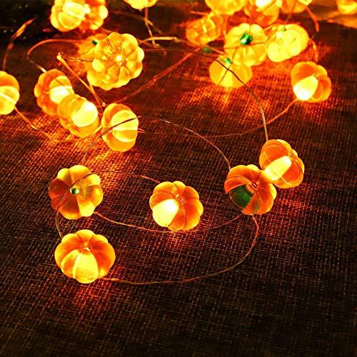 Halloween kürbis Deko Lichterkette, 3M 30 LED Pumpkin Lichter Schnur Außen Innen Lichterkette Batterie mit Fernbedienung, Halloween Party Dekoration Accessoires für Garten Zimmer Fenster - Warmweiß