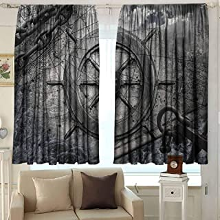 GUUVOR Ships Wheel Decor Blackout Curtain Retro Navigation Equipment Illustration with Steering Wheel Charts Anchor Chains 2 Panel Sets W52 x L63 Inch Charcoal