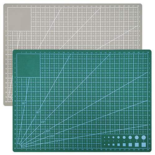 ZJW Schneidematte A4 selbstheilend (22 x 32 cm), beidseitigen Rastern und Markierungen, EIN Muss für jedes Nähzimmer
