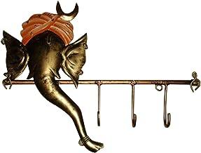 Iron Handicraft Ganesha 1Pc Key Hanger, Multi-Colour, 12 x 7 Inches, IH099
