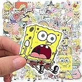 SpongeBob Aufkleber, Hilloly 200 Stück Kinder Aufkleber Cartoons Aufkleber, Wasserfeste Vinyl Sticker Set, für Laptop, Wasserflasche, Gitarre, Fahrrad, Gepäck, Skateboard, Graffiti, Süßes Abziehbild