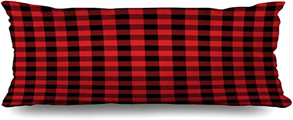 Ahawoso Zippered Body Pillow Cover 20x54 Inches Green Check Traditional Red Id Buffalo Plaid Flannel Material Pattern Black Checkered Holiday Texture Decorative Cushion Case Home Decor Pillowcase