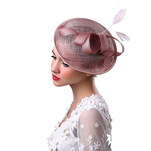 7deb4f124ef67 TEERFU Women s Elegant Flower Feather and Veil Fascinator Cocktail Party  Hair Clip Hat