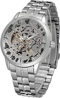 Forsining Men Mechanical Stainless Steel Wristwatch Skeleton Watch