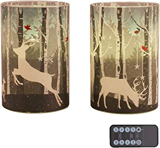 """Green Elk Glass Led Candles Set of 2 (D4""""x H6"""") Real Wax Pillar Flameless Candles with Elk in Wood Glass Candle Holder, Votive Flameless LED Candle Battery Operated with Timer for Christmas Gifts"""