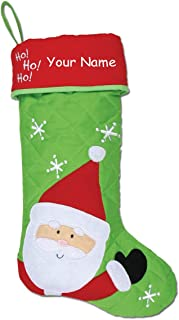 Stephen Joseph Personalized Santa Claus Ho Ho Ho Quilted Christmas Stocking Decoration with Custom Name - 17.5 Inches