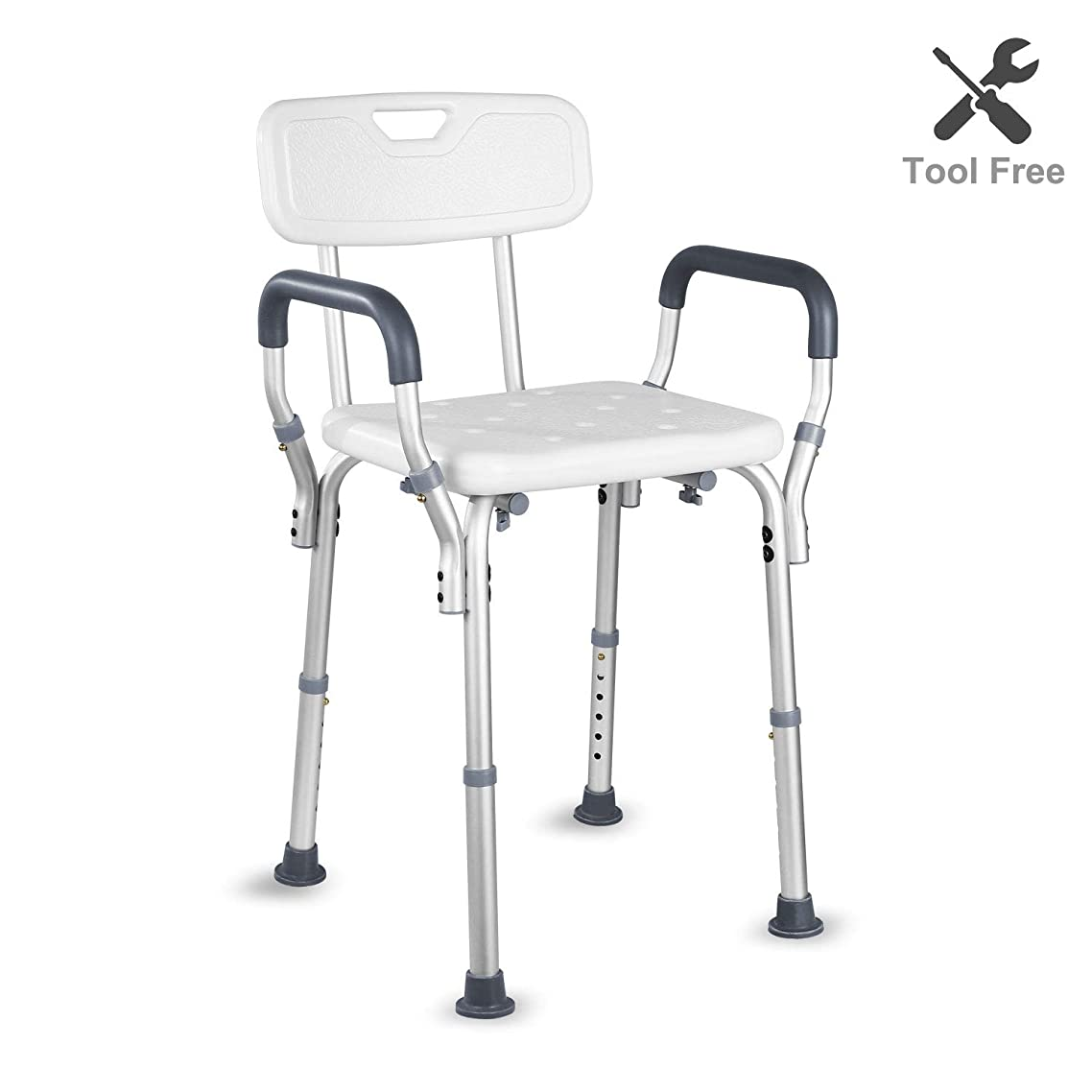 HAIRBY Shower Chair with Arms and Back Adjustable Height Medical Bath Tool Anti Skid and No Slip Bathtub Seat for Handicap, Disabled, Seniors and Elderly