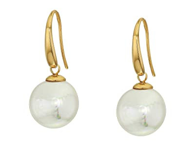 Majorica 12 mm Coin Pearl Drop Earrings (Yellow) Earring