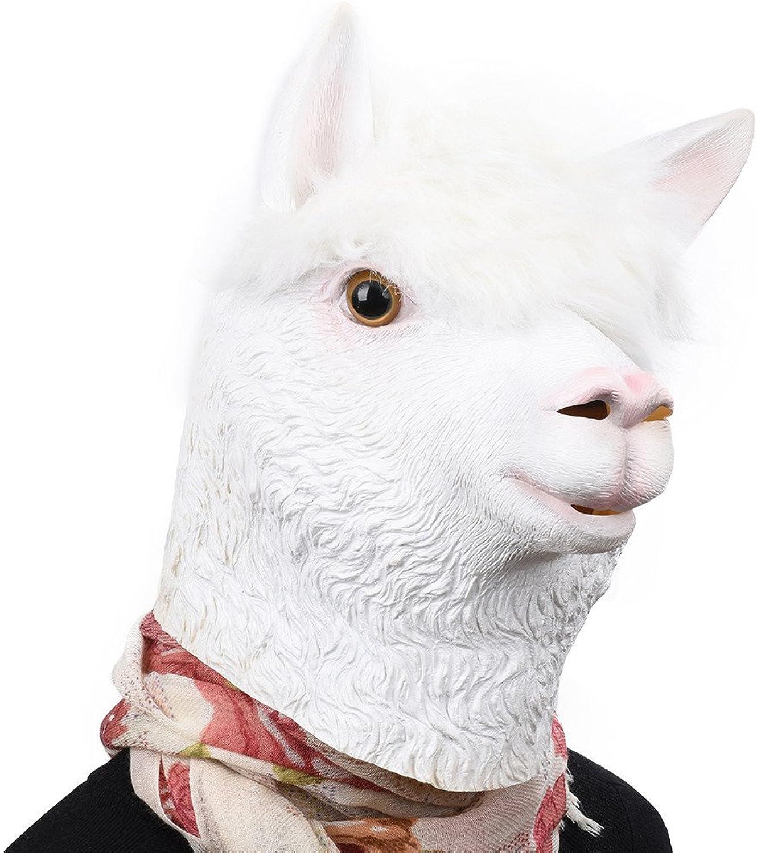 Head Mask Halloween Christmas Party Costume Mask Latex Animal Head Mask Alpaca
