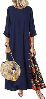 MysterLuna - Vestido largo casual de manga larga de lino y algodón para mujer